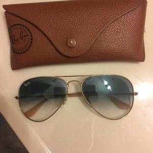 Authentic Ray-Ban blue Gradient with gold frame